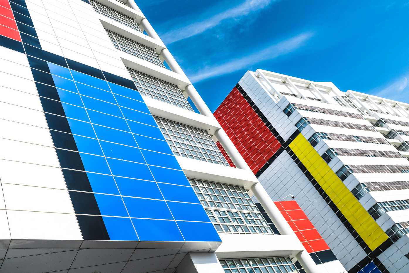 Mondrian decorations on Den Haag city hall and library