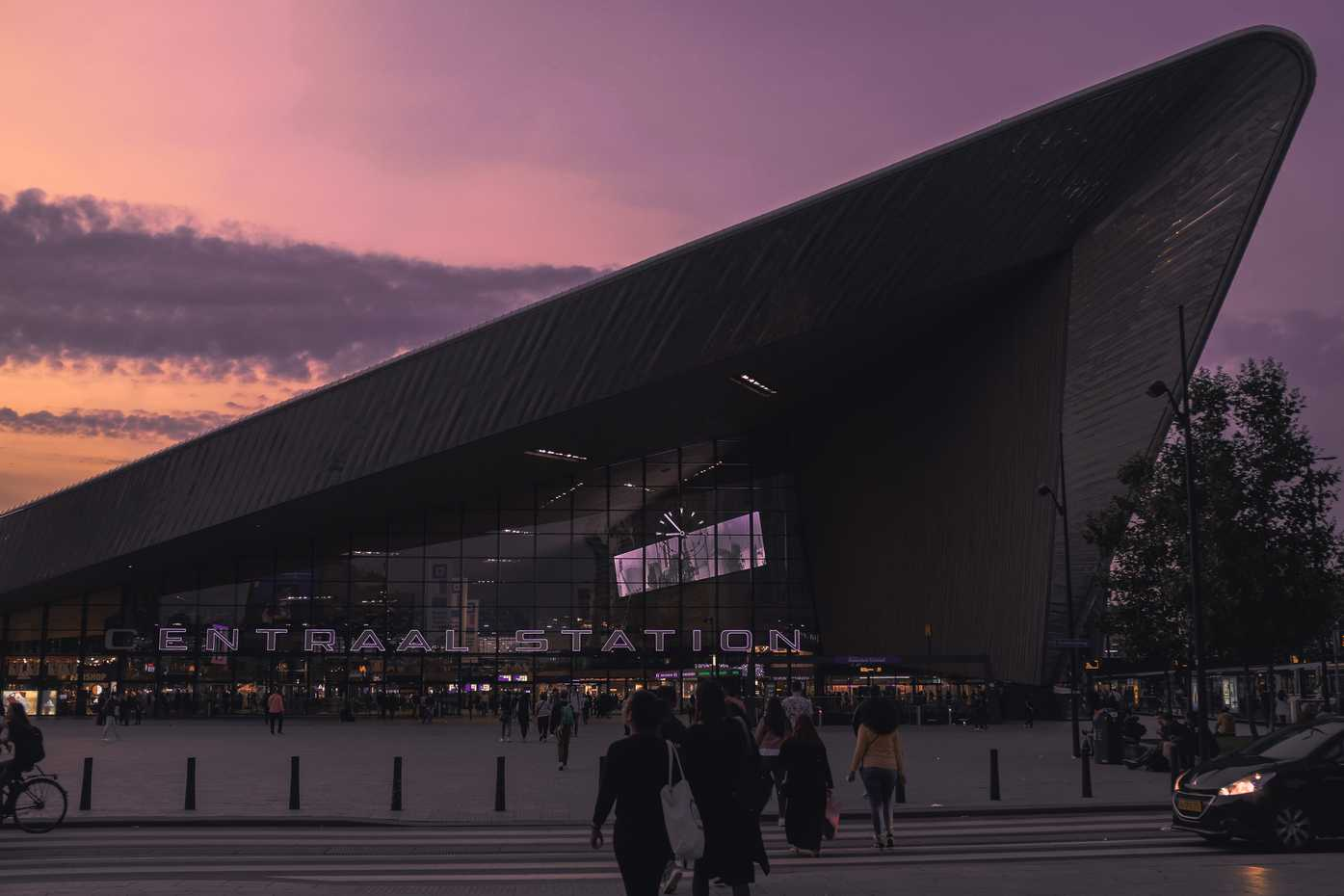 The Rotterdam Centraal Station at dusk